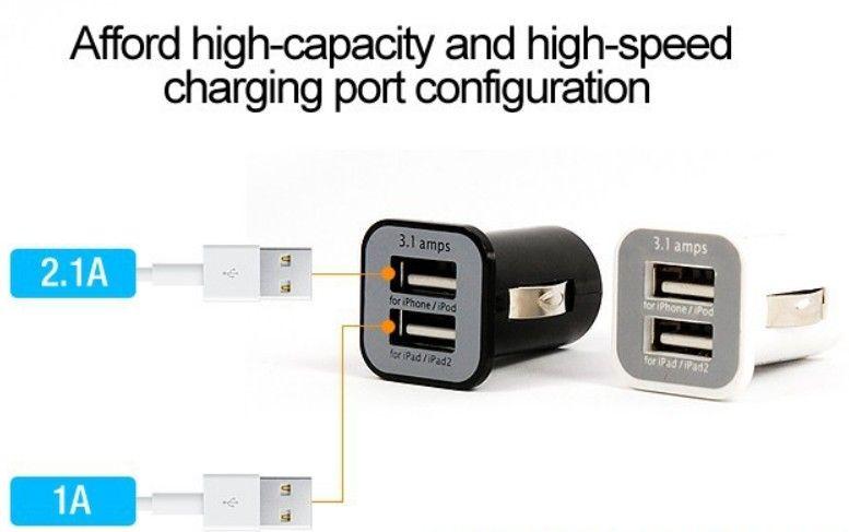 USAMS 3.1A 3100mha USB شاحن سيارة مزدوج 5V Dual 2 Port Car Charger لباد فون 5 5S iPod iTouch HTC Samsung