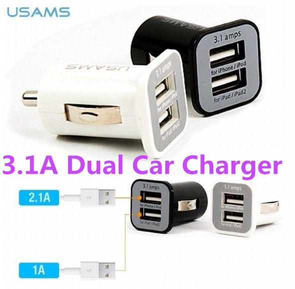 USAMS 3.1A 3100mha Cargador de coche dual USB 5V Puerto doble 2 Cargadores de coche para iPad iPhone 5 5S iPod iTouch HTC Samsung