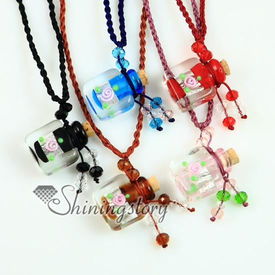 essential oil diffuser necklace murano glass pendants Perfume bottle necklaces silver foil twist square aromatherapy pendant with flower