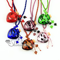 Wholesale Murano Glass Oil Heart - aromatherapy pendant murano glass heart pendants Perfume bottle necklaces lampwork essential vial essential oil diffuser necklace