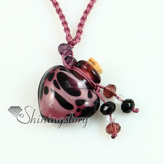 pendentif aromathérapie pendentif coeur en verre de murano bouteille de parfum colliers lampwork flacon essentiel flacon diffuseur d`huile essentielle