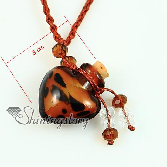Aromatherapie Anhänger Murano Glas Herz Anhänger Parfüm Flasche Halsketten Lampwork wesentliche Phiole ätherisches Öl Diffusor Halskette