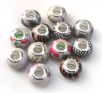 Brand new mix Color acrylic big Hole 925 silver plated core ...