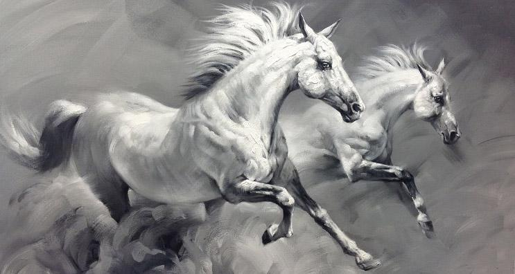 2018 Hand Painted White And Black Horse Wall Art Painting