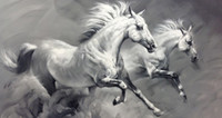 Hand- Painted White and Black Horse Wall Art Painting Landsca...