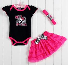 Baby Romper Girls Dresses Canada - TUTU Novelty Skull Baby Clothing Set Baby Bodysuits Hairband Pink Skirt Suits Girls Dresses Headbands Baby Romper HJ