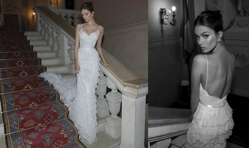 Spaghetti V Neck Wedding Dresses Berta Winter 2014 Sheath Pearls ...