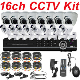 Wholesale Cctv Dvr Camera System - Free shipping sale best top selling 16ch cctv kit whole cctv system ir sony 700TVL security camera 16ch HD DVR network recorder