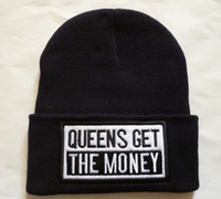 Wholesale Money Hats - Hot Sale Black Queens Get The Money Beanies Fashion embroidery winter hats Top Quality 1pcs lot free shipping