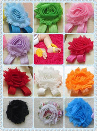 """Wholesale Sandals Shabby Flowers - 12 color choice baby girls flower sandals 2.5"""" shabby Shabby Flower foot walker shoes Barefoot Sandals 100pcs=50pairs lot 0-3 years"""