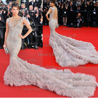Wholesale Eva Gowns - Cannes 2012 Eva Longoria Sexy Mermiad V Neck Asymmetrical Blackless Tulle Cathedral Train Celebrity Dresses Evening Gowns Dhyz 01
