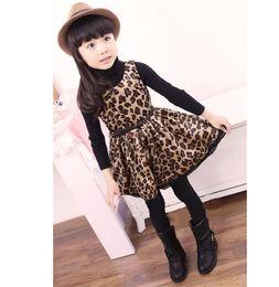 Wholesale Primavera autunno senza maniche Baby Kids Dress Europa e in America Ragazze stampa leopardo Gilet Abiti Abbigliamento per bambini TS173
