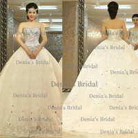 Wholesale Brilliant Beads - 2014 Brilliant Vestidos Beads Crystal Lace-Up Applique Sweetheart Sleeveless Backless Court Train Tulle Ball Gown Wedding Dresses Dhyz 01
