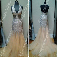 Wholesale spark light - Best Selling Sparking Beaded Throughout Mermaid Halter Evening Dresses Formal Dresses Shil37