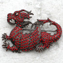 Wholesale dragon american for sale – custom Crystal Rhinestone Dragon pin brooch C749
