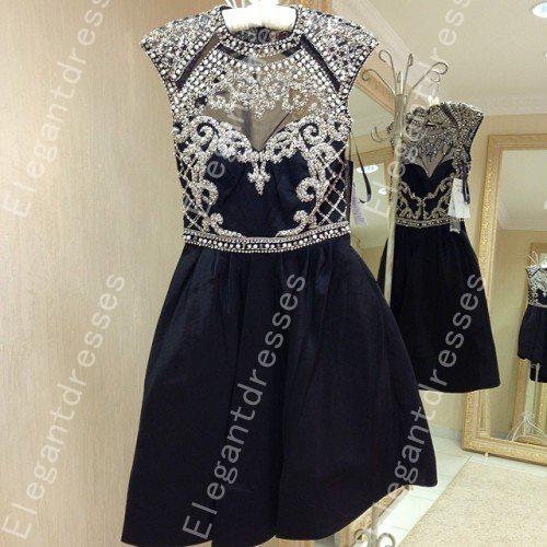 2019 Beautiful Exquisite High Neck Beaded Crystal Short Prom Dresses Party For Girl Formal Special Occasion Party Gowns Custom