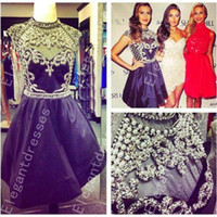 Wholesale short ball gowns for prom - 2014 Beautiful Exquisite High Neck Beaded Crystal Short Prom Dresses Party For Girl Shil75