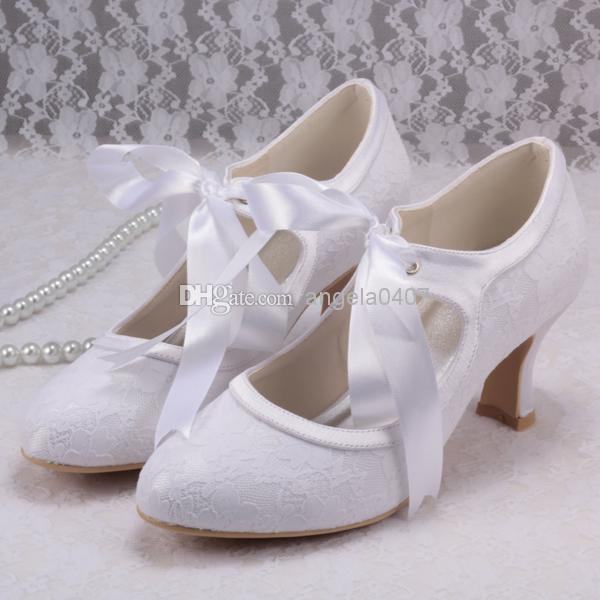 Mary Janes Lace Up White Wedding Shoes Low Heels High
