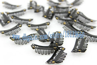 Wholesale 28mm Ships - 20pcs lot 28mm Black Color hair clip,wig clip,metal clip,snap clip for hair wig, hair extension,hair weft clips Free shipping