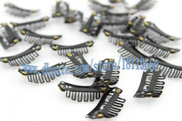 Wholesale Snap Clip Hair Extensions Black - 20pcs lot 28mm Black Color hair clip,wig clip,metal clip,snap clip for hair wig, hair extension,hair weft clips Free shipping