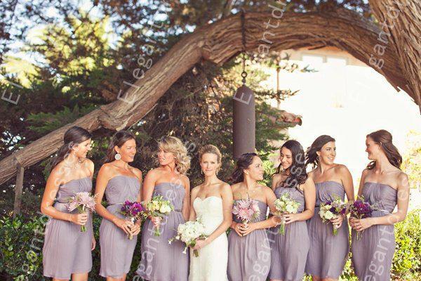 Ny stil 2019 elegant chiffong ruffles knä längd billiga blå brudtärna klänningar formella klänningar 011