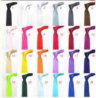 Wholesale Wedding Tie Color - Lowest price 24colors in stock mens regular sized neck ties imitate silk solid color plain wedding necktie lenth