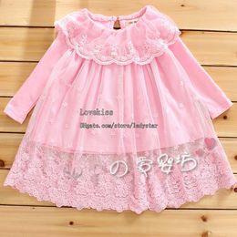 Wholesale Lace Long Sleeve Shirt Wholesale - Infant Princess Shirt Girls Cute Lace Embroidered Shirts Baby Clothes Child Long Sleeve T Shirt Children T Shirts Kids Clothing Shirt Dress