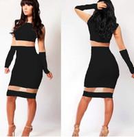 Wholesale Celeb Black Spandex Dress - wholesale 2014 Free shipping Womens Celeb Ladies Bodycon Navy Long Sleeve Lace Midi Evening Party Dress 4017 one size 8-12