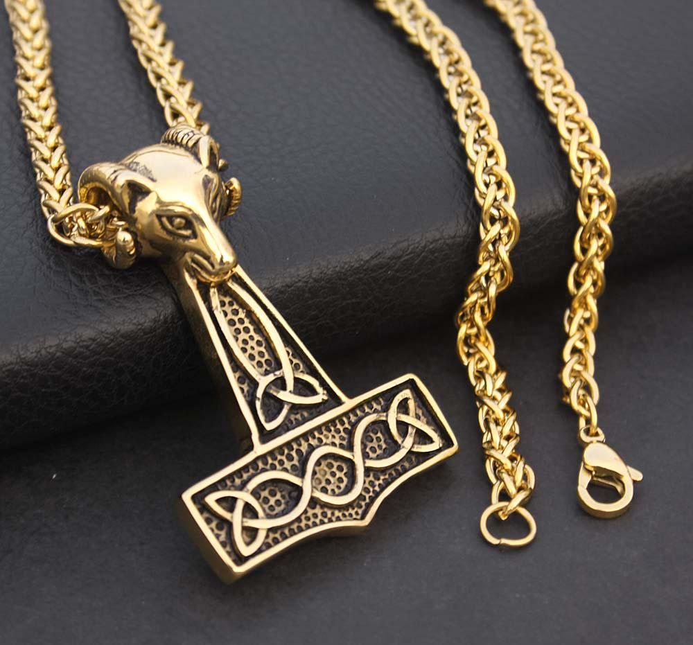 wholesale gold color viking norse thors hammer