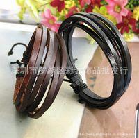 Wholesale Korean Women Beaded Bracelets - Leather Wholesale Korean men and women of pure hand-painted leather bracelets