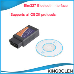 Wholesale Elm327 Can Bus Interface - Elm327 Bluetooth OBD II interface cable V1.5 Elm 327 Bluetooth OBD II EOBD code reader Can-bus Diagnostic Interface Free Shipping