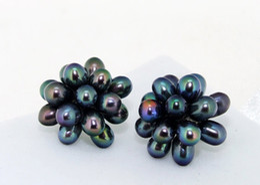 Wholesale Black Cultured Pearl Beads - 2017 Nice Black Rice Freshwater Cultured Pearl Gem 15 Beads One Earrings Stud Pearl Earring.