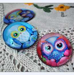 Wholesale Dia cm Design Color Owl Painting Crystal Glass Fridge Magnets Creative Magnetic Stickers Children Toys FM061
