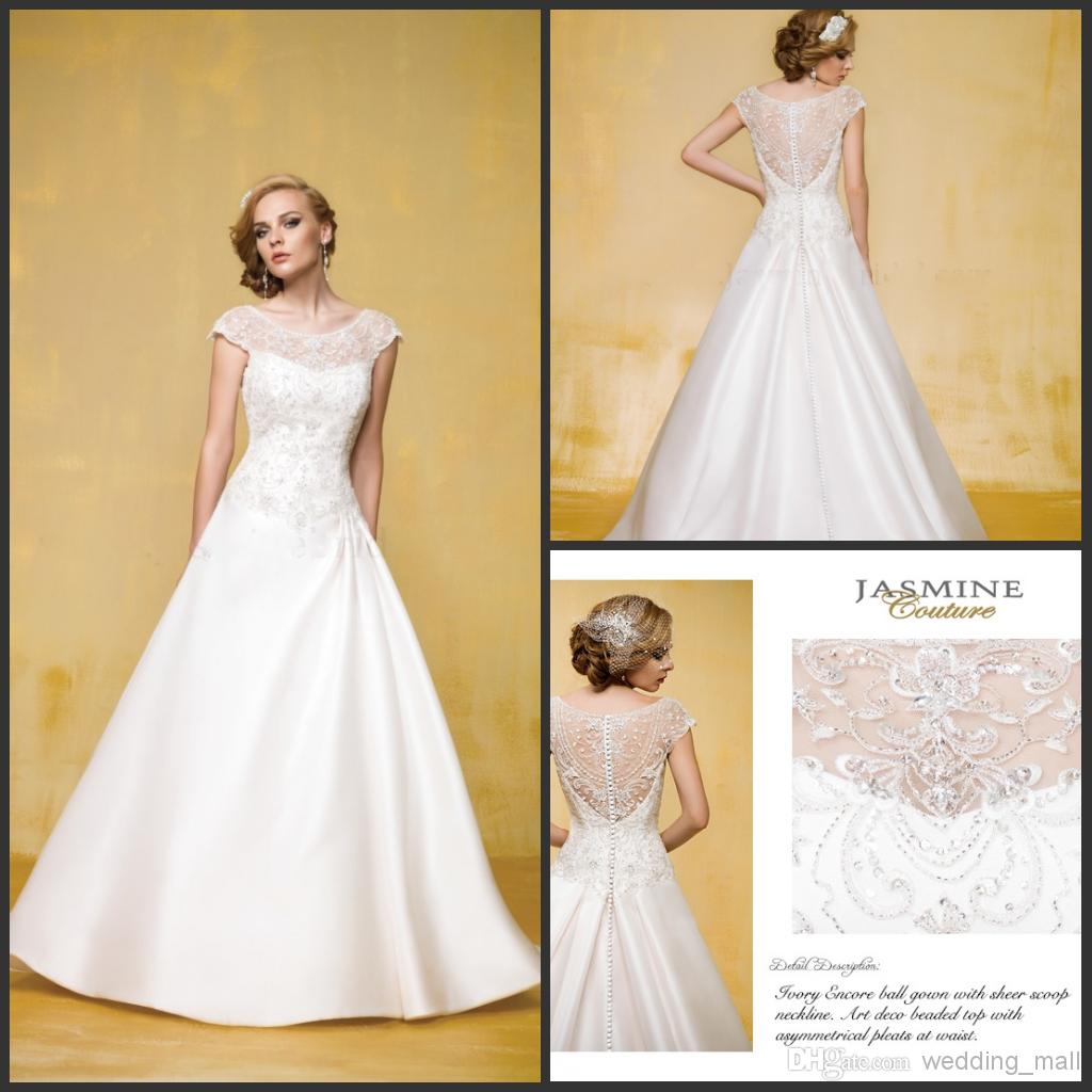 Royal Wedding Dresses Gowns Inspired By Jasmine With Sheer Scoop