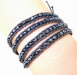 crystal buttons shiny NZ - New Arriver Fashion Lady's Jewelry,Shiny Black Crystal Bead Faceted Wrap Bracelet Brangle Wrap Woven Button Handmade Jewelry N5035