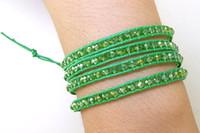 botones de manzana verde al por mayor-Nueva joyería de la llegada Arriver Fashion, Apple Green Crystal Bead Faceted Wrap Pulsera Brangle Wrap tejido joyería hecha a mano N5041