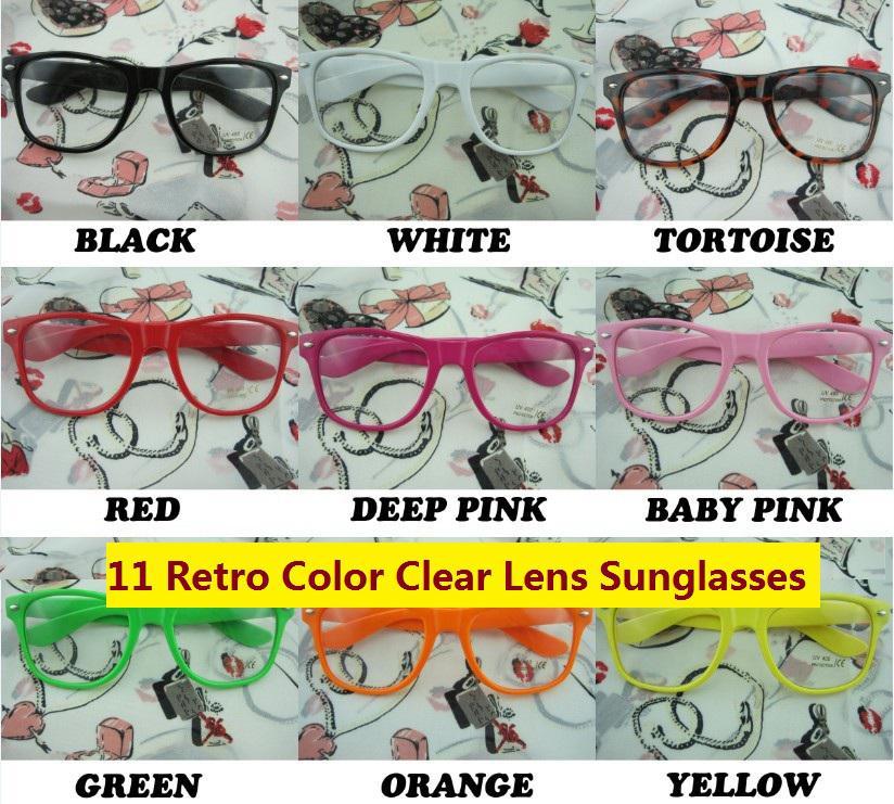 Rockabilly Punk Geek Retro Clear Lens Glasses Color Sunglasses