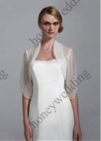 Wholesale Organza Bolero Jacket Silver - 2014 Custom Made New Style High Quanlity Half Sleeve Pleated Wedding Jackets Bridal Jacket Free Shipping DH7190