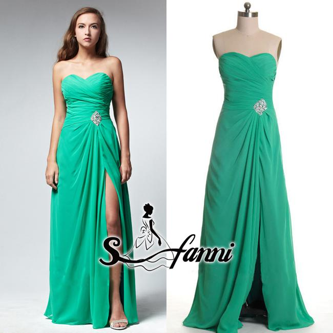 2013 Real Image Sweethart Chiffon Vestidos Backless Sleeveless Side Split Prom Dresses A line Long Length Green Evening Gowns