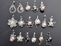 Wholesale Jewellery Wholesale Necklace - Wholesale Jewellery Lots 50PCS Mixed Shape Pearl Necklace Pendant DIY Pendants Fashion Women Jewelry Gift [N55*50]