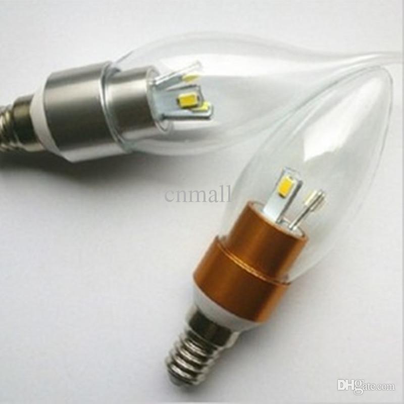 Nouvelle arrivée E12 E14 Led Couvercle Transparent Ampoules Bougie Lumière Blanc Chaud / Blanc Froid 3W Led AC 85V-265V