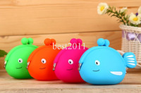 Wholesale Korean Fish Bag - Cartoon Fish Candy Color Silicone Coin Purse Cute Coin Bag Silicone Purse Japanese Style Coin Wallet DHL Free Shipping best2011