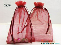 Wholesale Sheer Pouches Wholesale - Big Red Sheer Wedding Favor Holders Organza Jewelry Bags Candy Gift Pouch XKA6*500