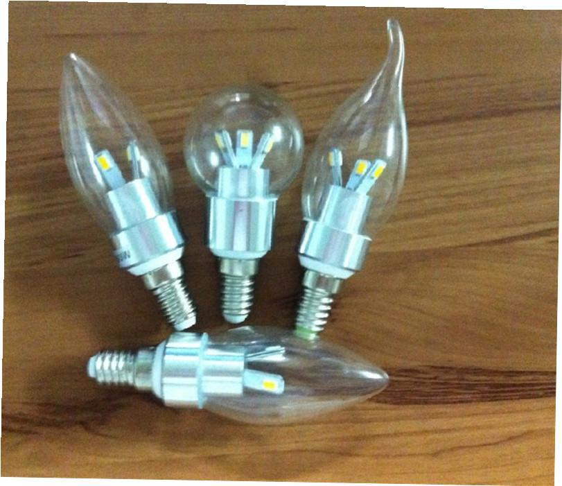 Neue Ankunft E12 E14 Led-Licht Kerze Lampen Transparente Abdeckung Warmweiß / Kaltweiß 3 Watt Led-strahler
