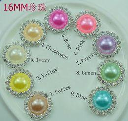 Wholesale Flatback Pearls Mixed - 20pcs Mix colors 16mm Flatback Diamond Rhinestone Crystal Pearl Cluster Scrapbooking Craft