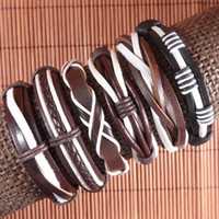 Wholesale Wholesale Weaves China - Free shipping Wholesale (6pcs lot) Weave Wrap Hemp&Genuine Charm leather bracelet for men-L124