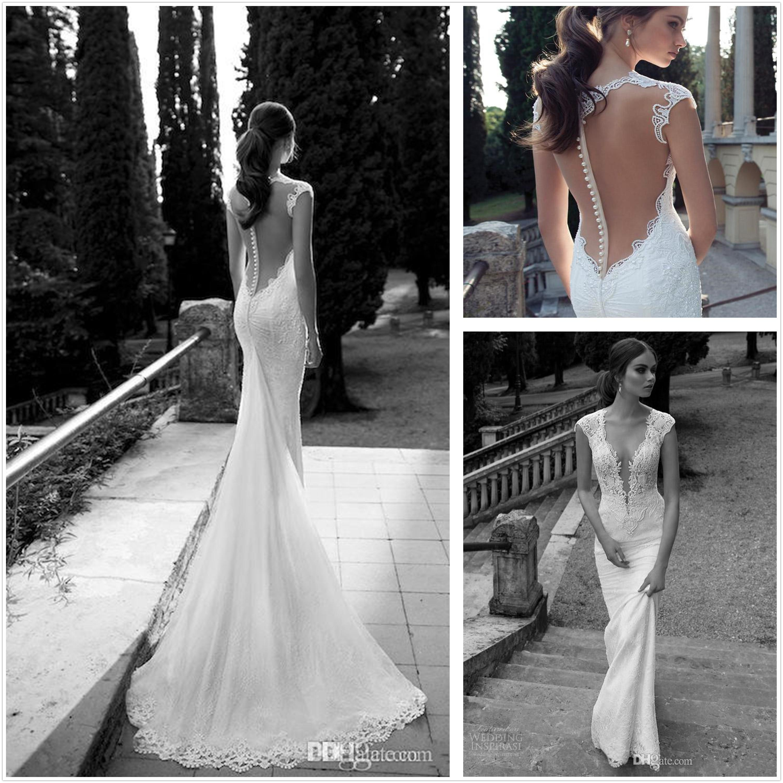 Berta Winter 2014 Lace Sheer Wedding Dresses Deep V Neck Illusion ...