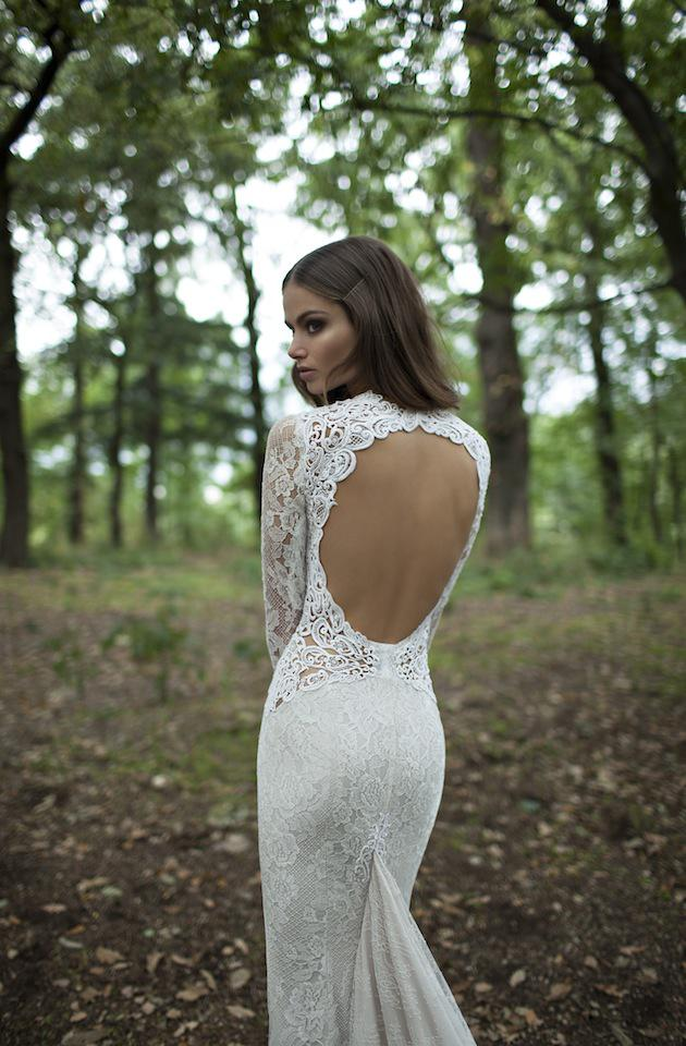 Top Quality 2014 Berta Bridal Vintage Wedding Dresses Lace Mermaid Bridal Gowns Sexy Deep V-Neck Backless Sheer Long Sleeve Garden Wedding