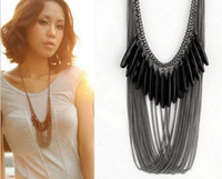 Wholesale Crystal Bib Necklace Wholesale - Boho Women Layered Black Gem Beads Tassel Bib Choker Collar Statement Necklace Choker Necklace XJ