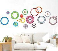 Wholesale Wall Decor Deco Sticker - FASHION COLOR CIRCLE PEEL&STICK DECOR DECO WALL STICKER
